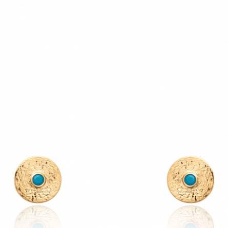 Boucles d'oreilles femme pierre Hellerina ronde turquoise