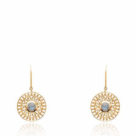 Boucles d'oreilles femme pierre Hunta arrondie bleu