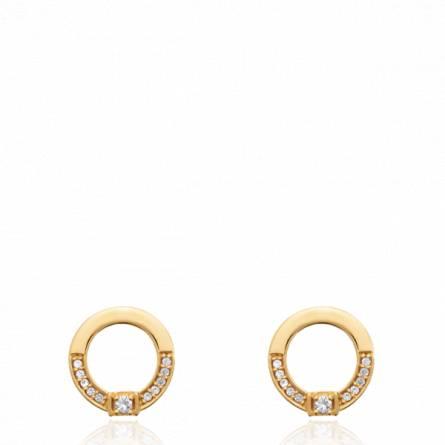 Boucles d'oreilles femme pierre Ilsia ronde