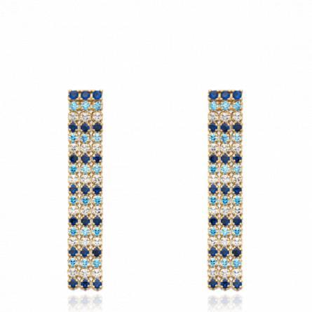 Boucles d'oreilles femme pierre Laonia bleu