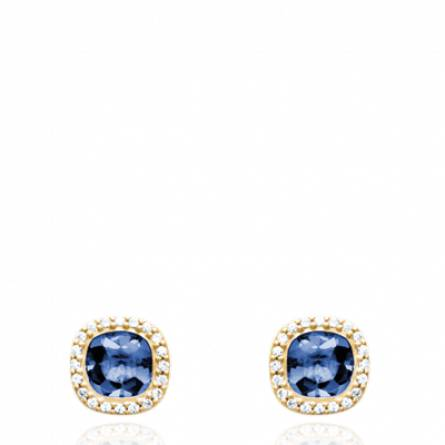 Boucles d'oreilles femme pierre Lelia carrée bleu
