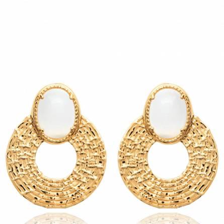 Boucles d'oreilles femme pierre Leyna ronde blanc