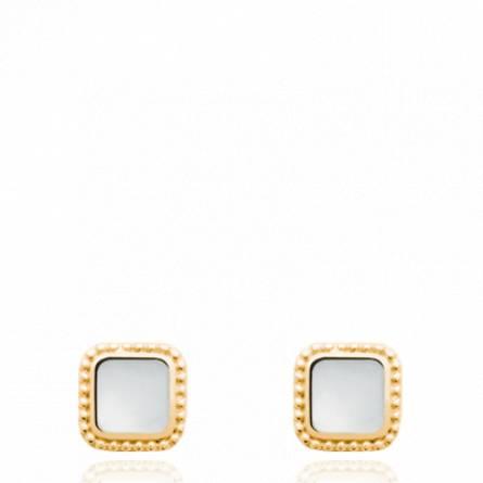 Boucles d'oreilles femme pierre Lypha carrée blanc