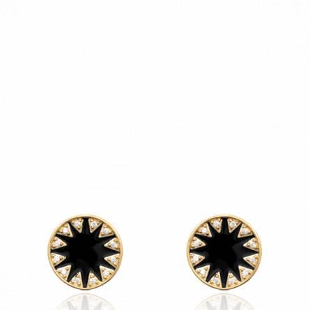 Boucles d'oreilles femme pierre Magino ronde noir