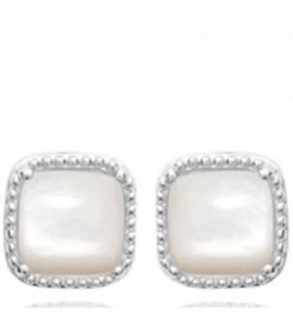Boucles d'oreilles femme pierre Malesa carrée blanc