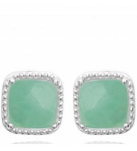 Boucles d'oreilles femme pierre Manesa carrée vert