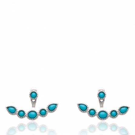 Boucles d'oreilles femme pierre Medea bleu