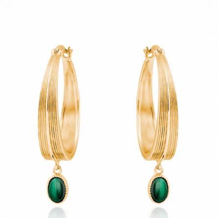 Boucles d'oreilles femme pierre Moro créoles vert
