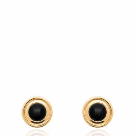 Boucles d'oreilles femme pierre noir