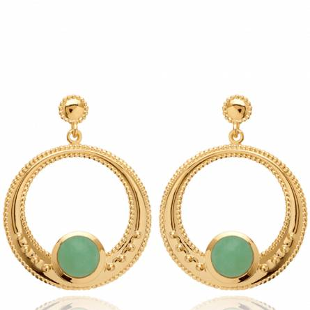 Boucles d'oreilles femme pierre Nyvise ronde vert