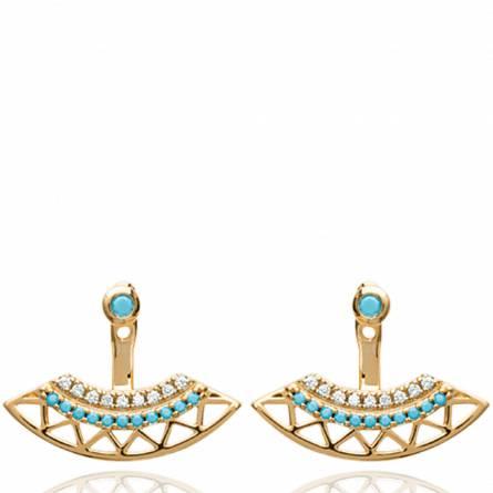 Boucles d'oreilles femme pierre Ode arrondie bleu