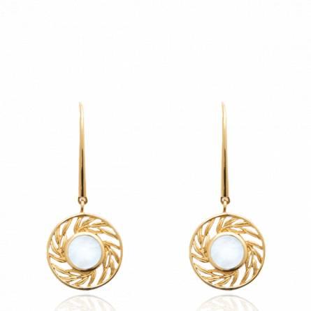 Boucles d'oreilles femme pierre Onenia ronde blanc
