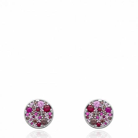 Boucles d'oreilles femme pierre Remmiah ronde rose