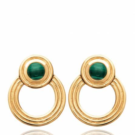 Boucles d'oreilles femme pierre Sephoya ronde vert