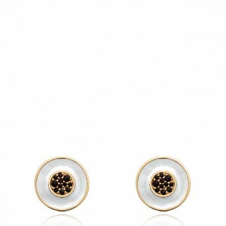 Boucles d'oreilles femme pierre Serinia ronde noir