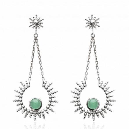 Boucles d'oreilles femme pierre Shanya vert
