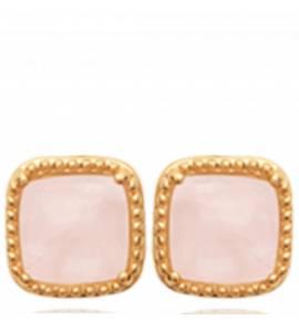 Boucles d'oreilles femme pierre Shesana carrée rose