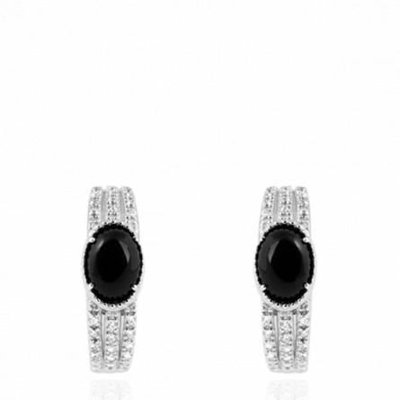 Boucles d'oreilles femme pierre Sikirou créoles noir
