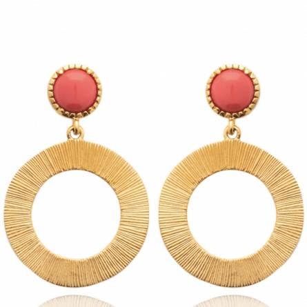 Boucles d'oreilles femme pierre Soliana ronde orange