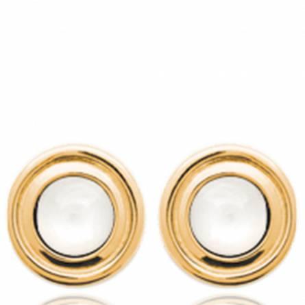 Boucles d'oreilles femme pierre Solya ronde blanc