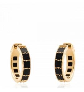 Boucles d'oreilles femme pierre Taruna créoles noir