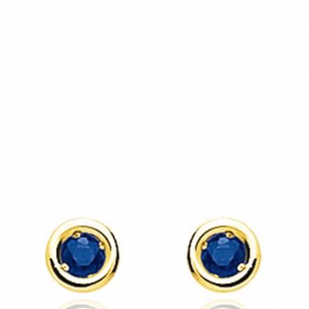 Boucles d'oreilles femme pierre Thesise ronde bleu