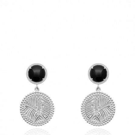 Boucles d'oreilles femme pierre Uani ronde noir