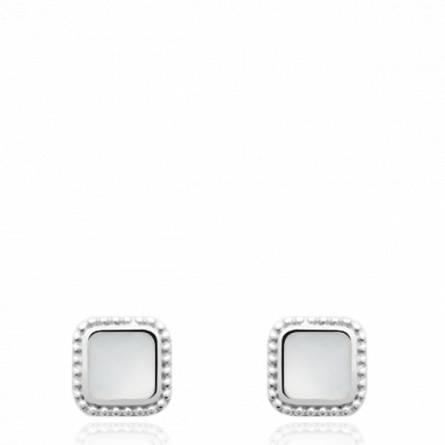 Boucles d'oreilles femme pierre Wildey carrée blanc