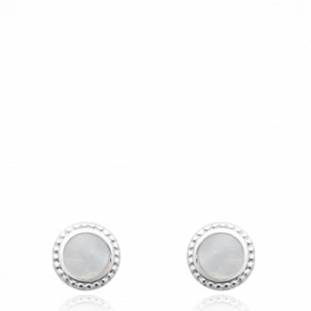 Boucles d'oreilles femme pierre Zaddin ronde blanc