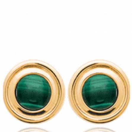 Boucles d'oreilles femme pierre Zeriana ronde vert