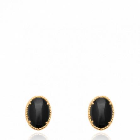 Boucles d'oreilles femme plaqué or Afirati ronde noir