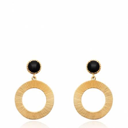 Boucles d'oreilles femme plaqué or Agatea ronde noir