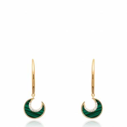 Boucles d'oreilles femme plaqué or Aléia demi lune vert