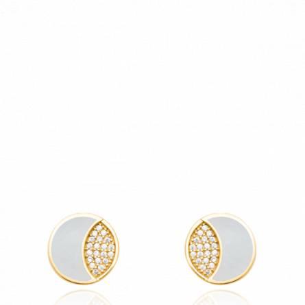 Boucles d'oreilles femme plaqué or Aliasa ronde blanc