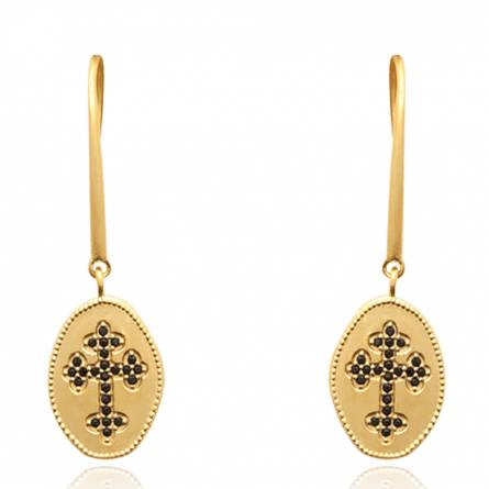 Boucles d'oreilles femme plaqué or Amea croix noir