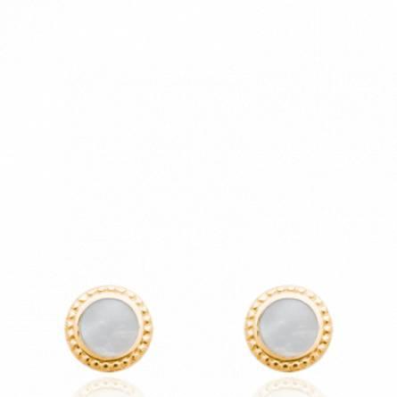 Boucles d'oreilles femme plaqué or Anedy ronde blanc