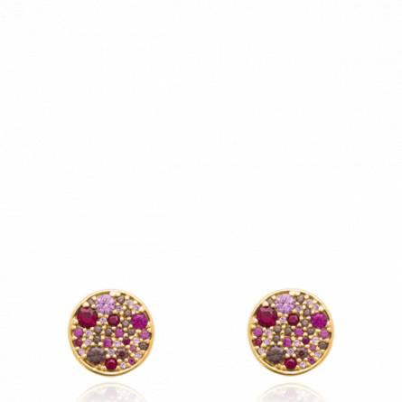 Boucles d'oreilles femme plaqué or Anhante ronde rose