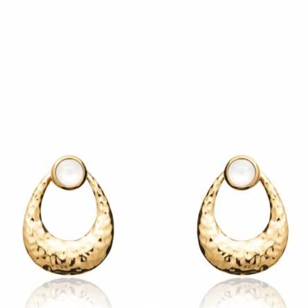 Boucles d'oreilles femme plaqué or Arnes blanc
