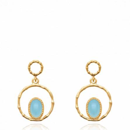 Boucles d'oreilles femme plaqué or Assens ronde bleu