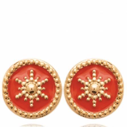 Boucles d'oreilles femme plaqué or Astera ronde rouge