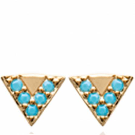 Boucles d'oreilles femme plaqué or Athre triangle turquoise
