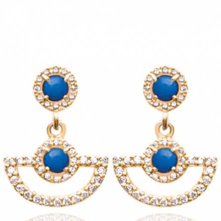 Boucles d'oreilles femme plaqué or Azula arrondie bleu