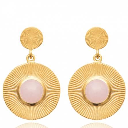 Boucles d'oreilles femme plaqué or Berora ronde rose