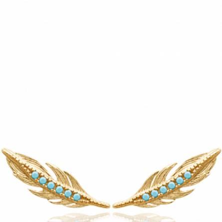 Boucles d'oreilles femme plaqué or bleu
