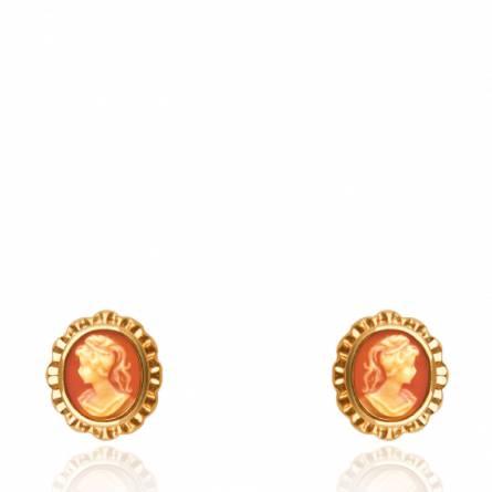 Boucles d'oreilles femme plaqué or Camé marron
