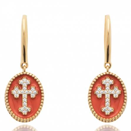 Boucles d'oreilles femme plaqué or Cena croix rouge