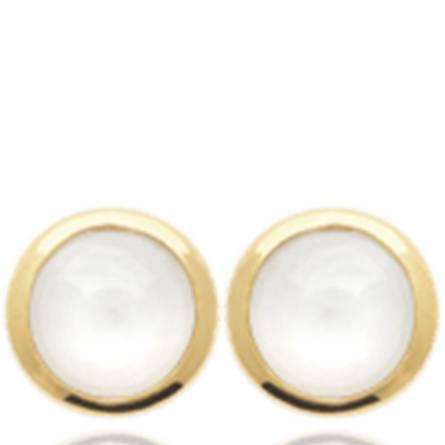 Boucles d'oreilles femme plaqué or Crelyana ronde blanc