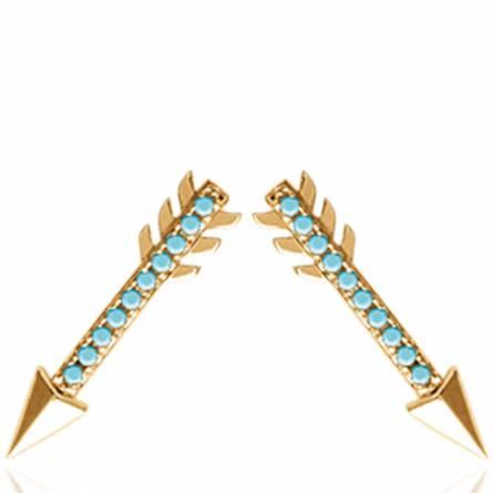 Boucles d'oreilles femme plaqué or Dawna bleu
