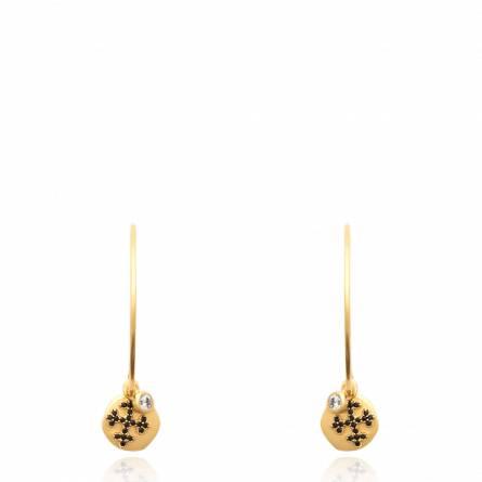 Boucles d'oreilles femme plaqué or Daxia ronde noir