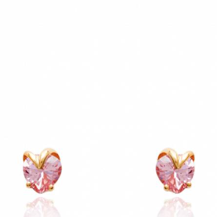 Boucles d'oreilles femme plaqué or Delissa rose